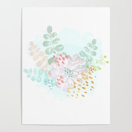 Paint splatter flower Poster