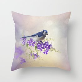 Blue Jay Perching on Blue Flowers watercolor painting Throw Pillow