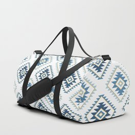 Aztec Style Motif Pattern Blues White Gold Duffle Bag