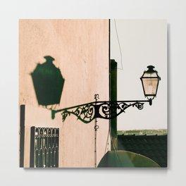 Antique street light at sunset Metal Print