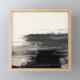 Artistic ivory black gold glitter paint brushstrokes Framed Mini Art Print