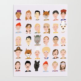 Wes Anderson Characters Poster