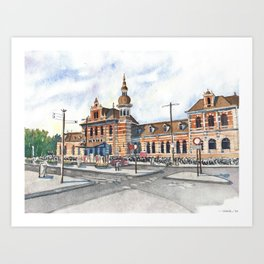 Delft Station in Watercolor Art Print