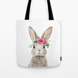 Baby Bunny with Flower Crown Tote Bag