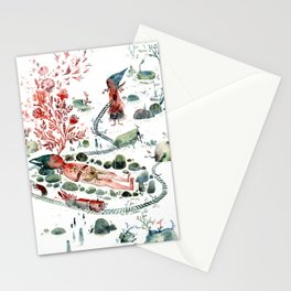 Colossal Watercolor Village Elf Gnomes Stationery Cards
