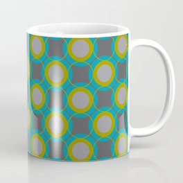 Contemporary Circle Pattern Retro Background Gray Turquoise Chartreuse Coffee Mug