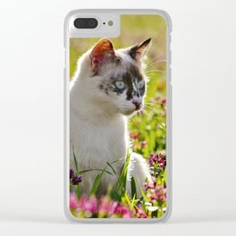 tortoiseshell cat in a meadow Clear iPhone Case