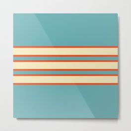 70s Style Blue Beige Orange Retro Stripes Radha Metal Print