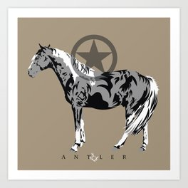 Horse with Star in Circle Black and Grey Art Print