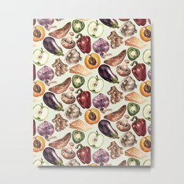 Food Pattern Metal Print