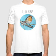 I LIKE BIRDS Mens Fitted Tee White SMALL