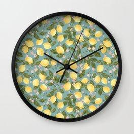 Gouache Lemons Wall Clock