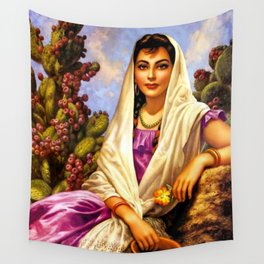 Jesus Helguera Painting of a Calendar Girl with Cream Shawl Wall Tapestry