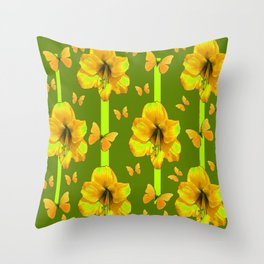 """GREEN AMARYLLIS """"FOR THE LOVE OF BUTTERFLIES"""" Throw Pillow"""