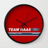 danny haas Wall Clocks featuring Haas F1 Team 1986 by Krakenspirit
