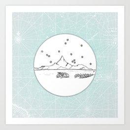 Bora Bora Island, French Polynesia Skyline Illustration Drawing Art Print