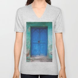 Blue Indian Door Unisex V-Neck
