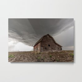 Bring the Rain - Rustic Barn and Storm in Eastern Nebraska Metal Print