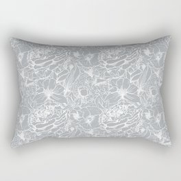 Of Peonies & Poppies - Paloma Blue Edition Rectangular Pillow