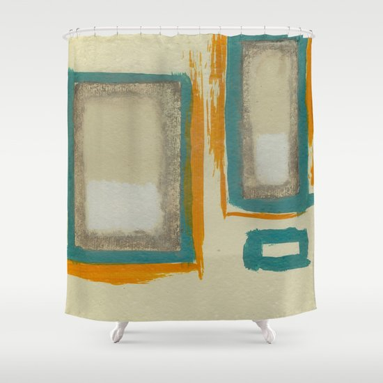 Soft And Bold Rothko Inspired Modern Art Teal Blue Orange Beige Shower Cu