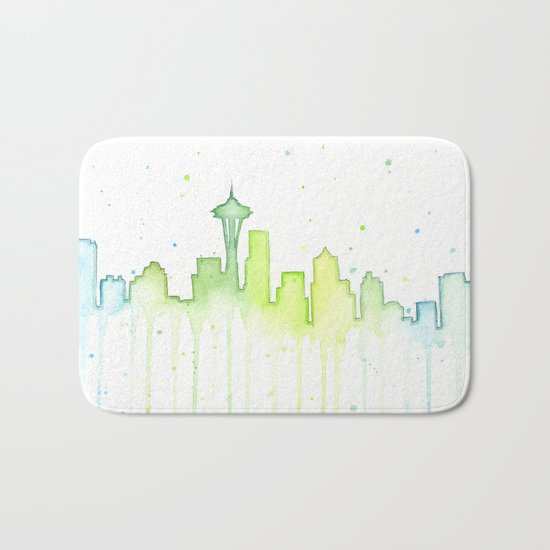 Seattle Skyline Watercolor Space Needle Painting Bath Mat