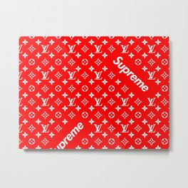 Supreme red logo new fashion art bags case iphone love L V louis V 2018 trend popular Metal Print