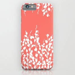 Pussywillow Silhouettes — Living Coral iPhone Case