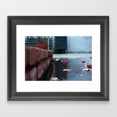 Brick and Leaves Framed Art Print