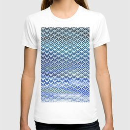 Black/Blue/Teal/Green Watercolor Seigaiha Pattern T-shirt