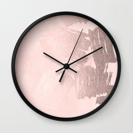 Rose Gold Pastel Pink Paint Brush Wall Clock