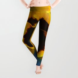 Yellow Pansy Flower Leggings