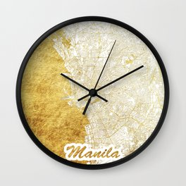 Manila Map Gold Wall Clock