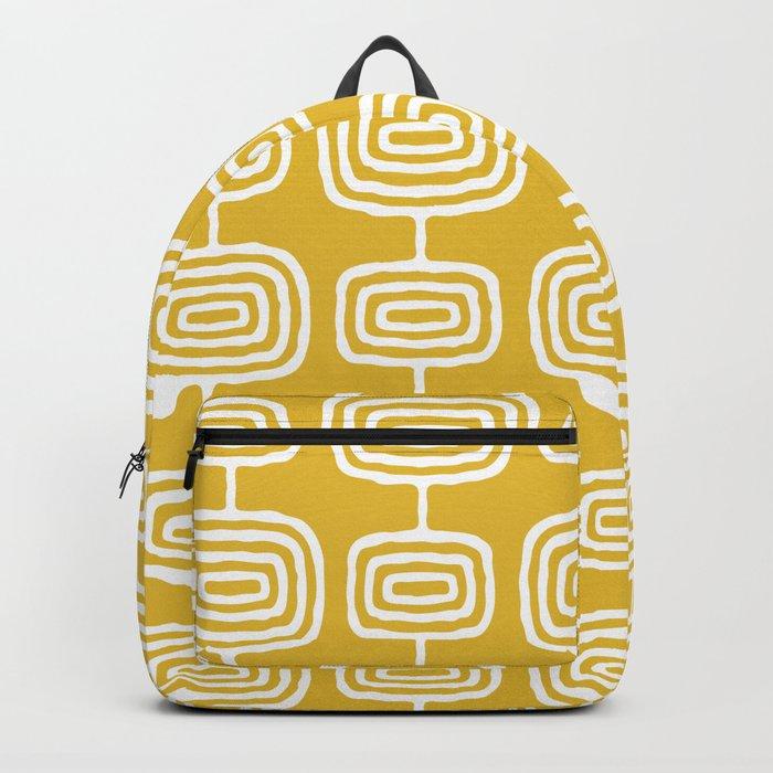 Mid Century Modern Atomic Rings Pattern Mustard Yellow Backpack