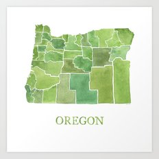 Oregon Counties watercolor map Art Print