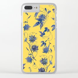 Elegant Blue Passion Flower on Mustard Yellow Clear iPhone Case