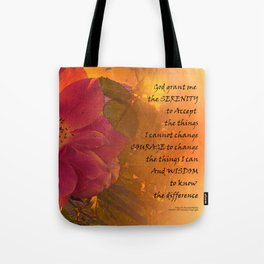 Serenity Prayer Orange Pink Rose Tote Bag