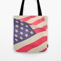 american flag Tote Bags featuring American Flag by Leah M. Gunther Photography & Design
