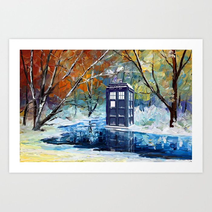 Starry Winter blue phone box Digital Art iPhone 4 4s 5 5c 6, pillow case, mugs and tshirt Art Print