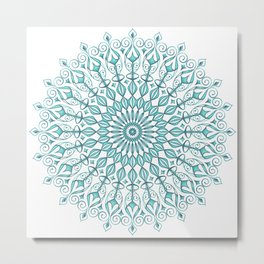Aqua mandala Metal Print