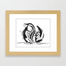 Swan-1. Black on white background-(Red eyes series) Framed Art Print