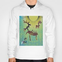 reindeer Hoodies featuring reindeer by donphil