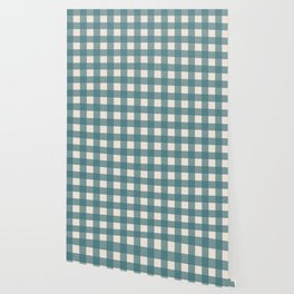 Buffalo Check Plaid in Teal and Cream Wallpaper