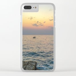 Seacoast of the peninsula of Rovinji at sunset Clear iPhone Case