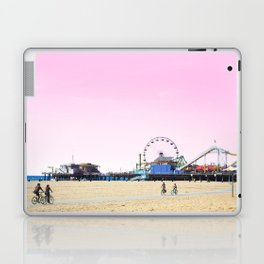 Santa Monica Pier with Ferries Wheel and Roller Coaster Against a Pink Sky Laptop & iPad Skin