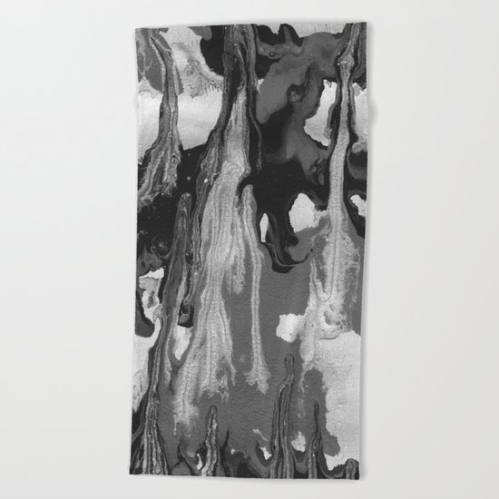 Black And White Marble Drips Beach Towel