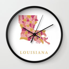 Louisiana map Wall Clock