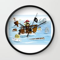 pirates Wall Clocks featuring Pirates by modernagestudio