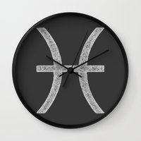 pisces Wall Clocks featuring Pisces by David Zydd