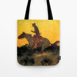 "Frederic Remington Western Art ""Against the Sunset"" Tote Bag"