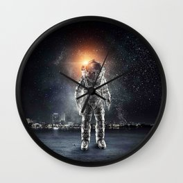 galaxy astronaut Standing alone in the city Wall Clock